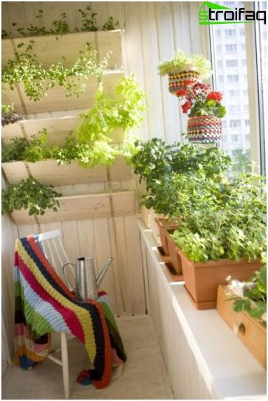 Design a garden on the balcony of the kitchen entrance