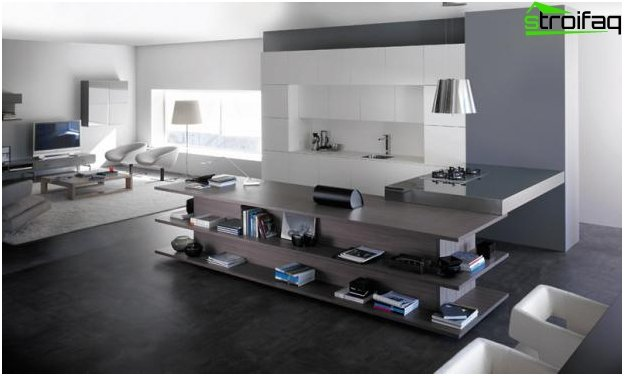 The design of the kitchen-living room - 9