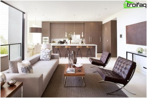 The design of the kitchen-living room - 10