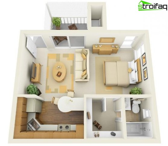 The design of the kitchen-living room - 15