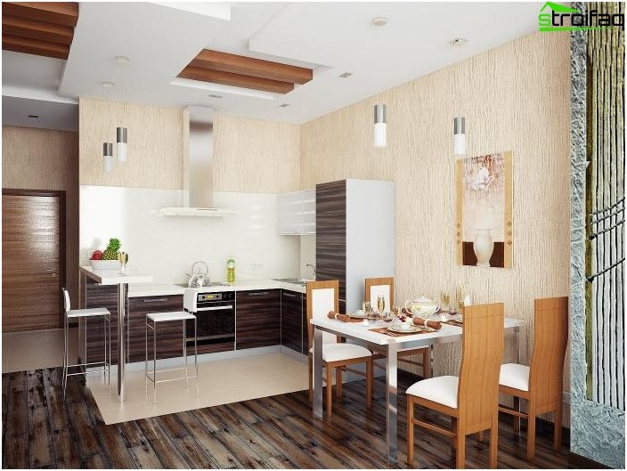 The design of the kitchen-living room 52
