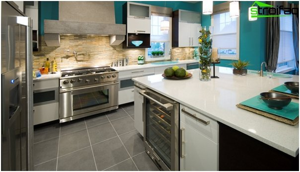 Tile in kitchen interior (stone) - 1