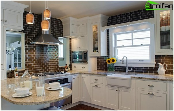 Tile in kitchen interior (brick laying) - 1