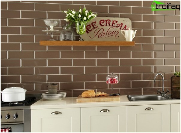 Tile in kitchen interior (brick laying) - 3