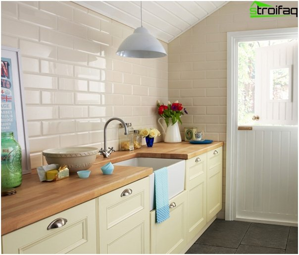 Tile in kitchen interior (brick laying) - 4