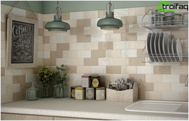 Tile in kitchen interior (brick laying) - 6