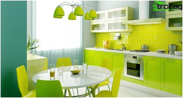 """Tile in kitchen interior (stacking """"seam in seam"""") - 3"""