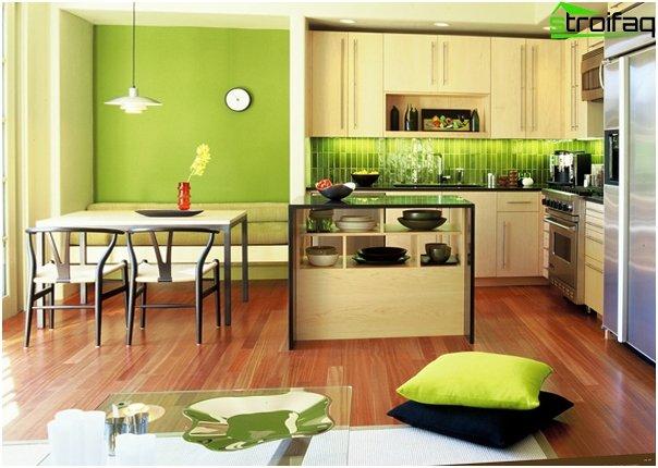 """Tile in kitchen interior (stacking """"seam in seam"""") - 4"""