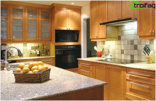 """Tile in kitchen interior (stacking """"seam in seam"""") - 5"""