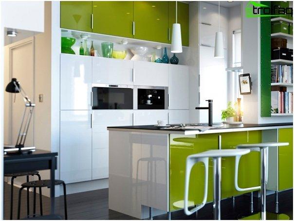Кухонная мебель в оттенках зеленого-3