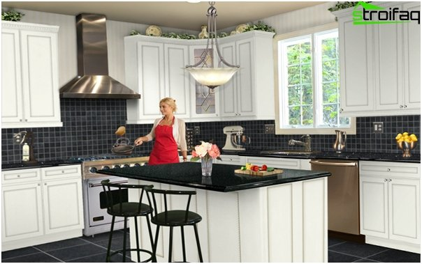 Tile in kitchen interior (with their hands) - 2