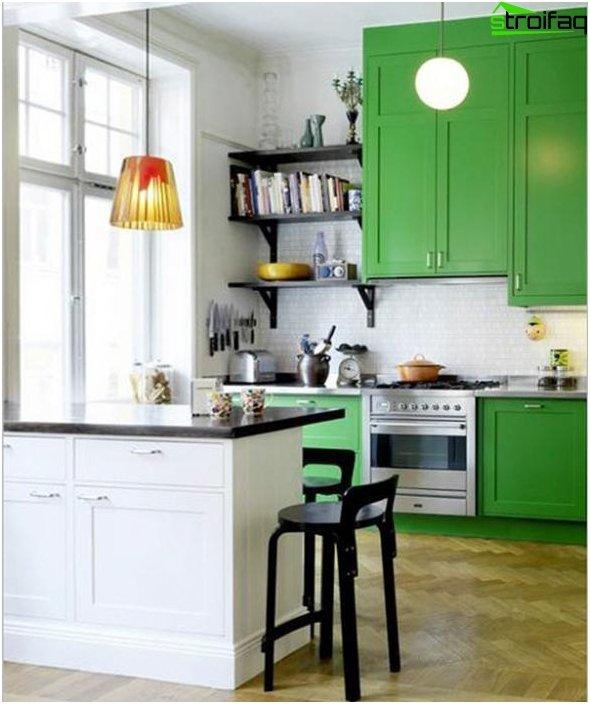 Кухонная мебель в зеленый тонах-5