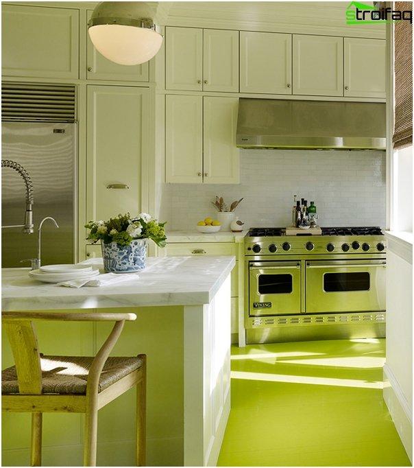 Кухонная мебель в зеленой тоне-6
