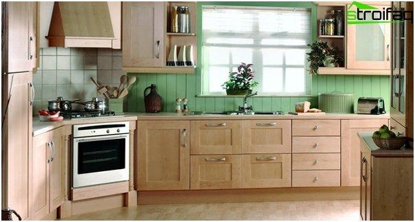 Кухонная мебель в оттенках зеленого-7