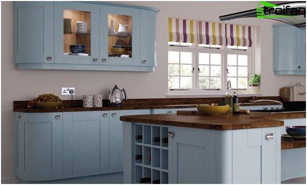 Кухонная мебель в синем тоне-1
