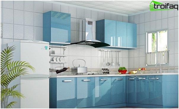 Кухонная мебель в голубых тонах-3