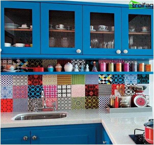 Мебель для кухни в голубых тонах-7
