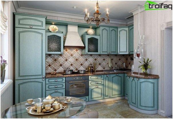 Мебель для кухни в голубых тонах-8
