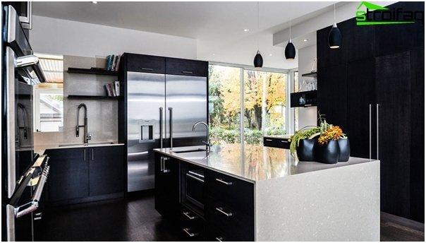 Кухонная мебель в темном тоне-4