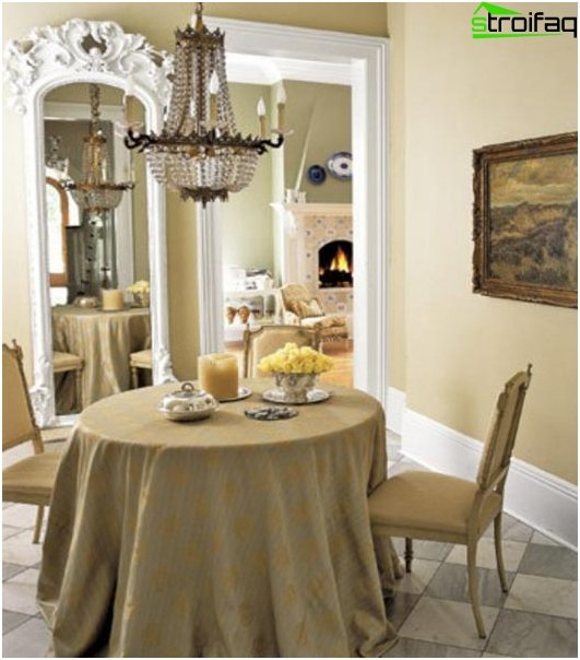 Dining table in the living room: 2 photos