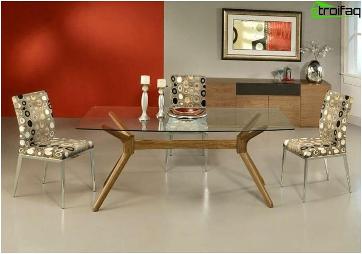 The rectangular shape of the dining table - 1