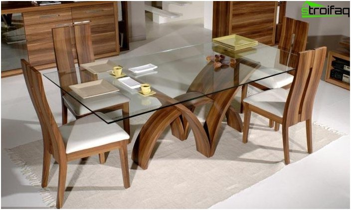 The rectangular shape of the dining table - 3