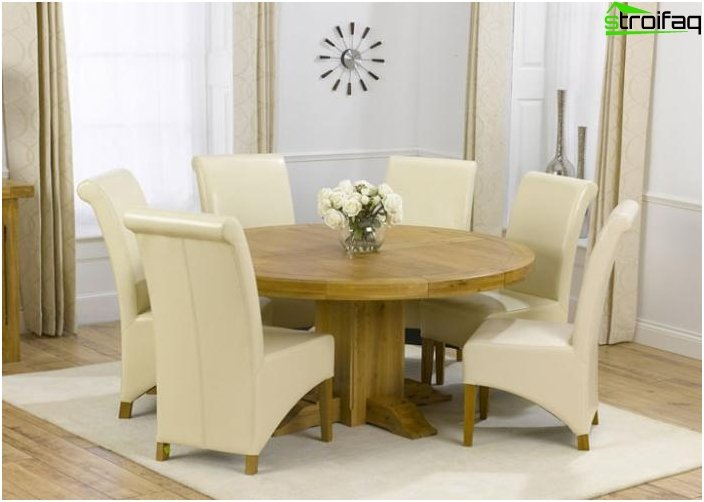 The round shape of the dining table - 1