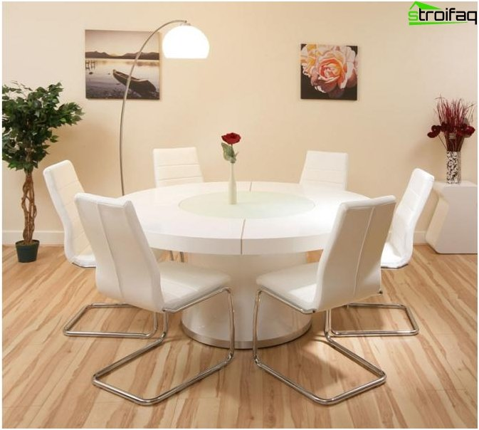 The round shape of the dining table - 2