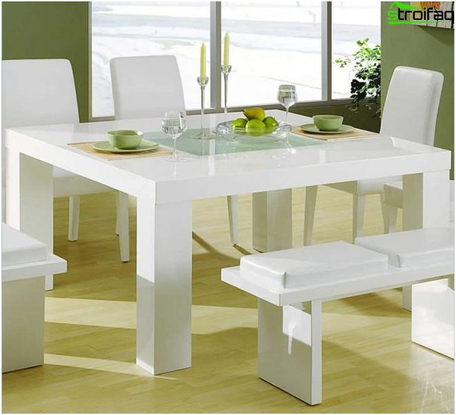 The square shape of the dining table - 1
