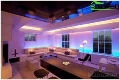 Lighting of the room with the help of LED equipment