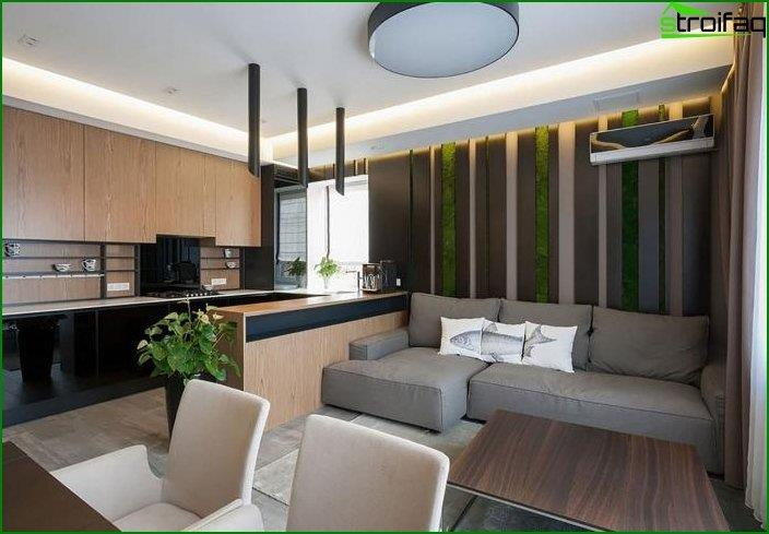 The design of the kitchen-living room 2