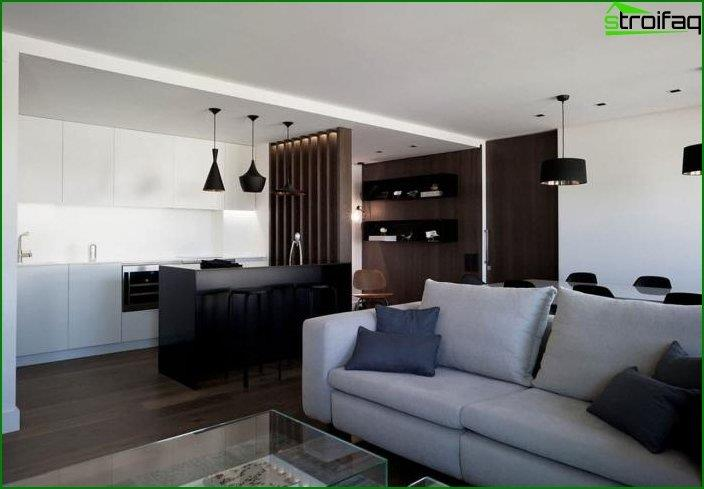 The design of the kitchen-living room 3