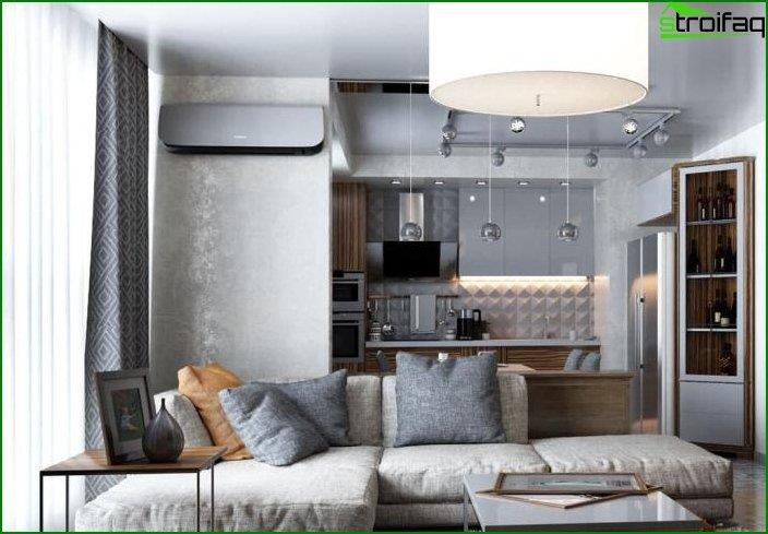 Design of kitchen-living room 8