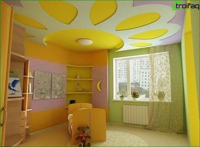 The design of the ceiling plasterboard in the children's bedroom