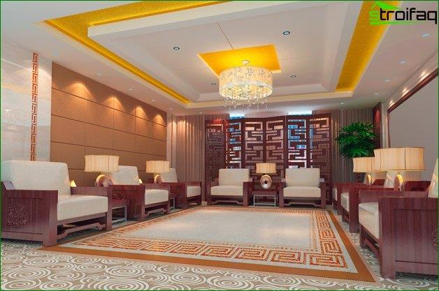 Design ceiling plasterboard to a large living room