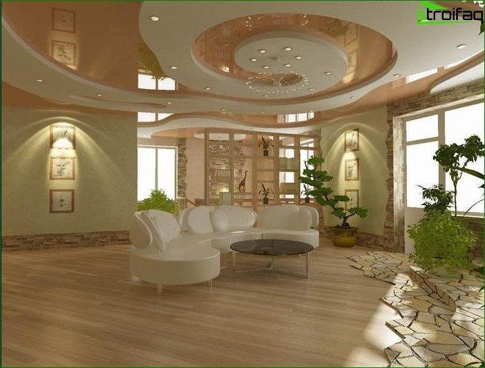 Design of ceilings in large living gipsokratona