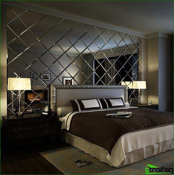Mirror facetted glass windows adorn the modern bedroom