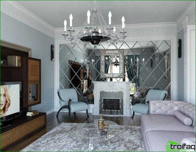Facet mirror on the wall opposite the window will make the room visually larger and fill it with an additional light