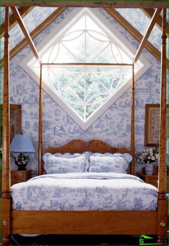 Bed headboard to the irregularly shaped window