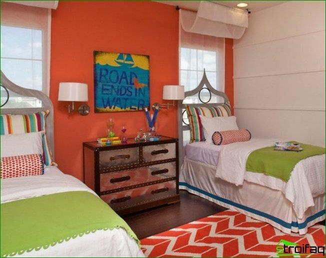 The symmetric arrangement of bed headboard to the window in the nursery can be a skillful design techniques