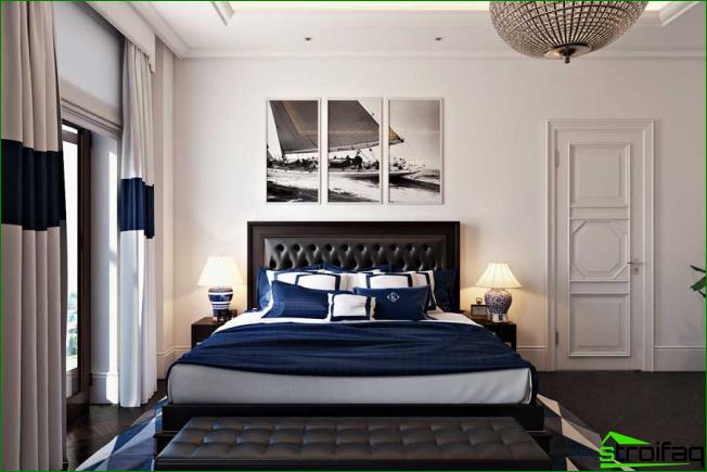 Bild i sovrummet som en tryckt bild, uppdelad i 3 delar