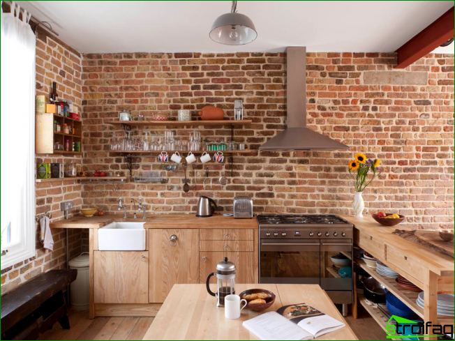Small kitchen with brick walls without upper cabinets