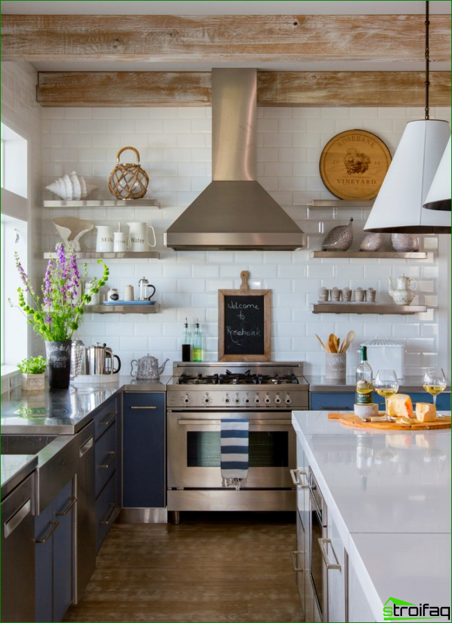 Kitchen in country style with wooden beams and small shelves instead of bulky cabinets