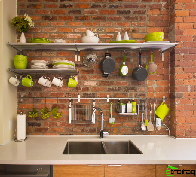 If you have nice bright dishes, it may well serve as a kitchen decor and stored using the open shelves and hooks