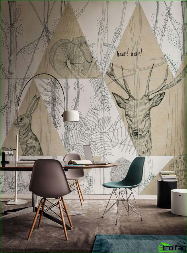 The original solution for the decoration of graphic drawings on the wall of the working space