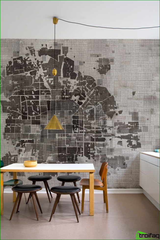 It is a fresh solution for the decoration of the dining area, in spite of the advantage of black and white bright yellow accents diluted monochrome interior