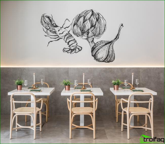 Interesting graphics illuminated interior cozy cafe in bright colors