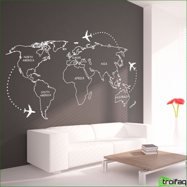 Living in a minimalist spirit of the original graphics on a dark gray wall beside the sofa. Note that a little emphasis on the red color can be diluted with monochrome interior