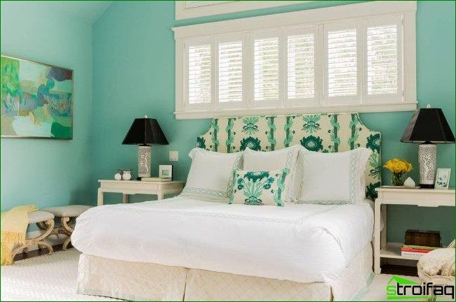 High headboard with a covering to match the decorative pillows