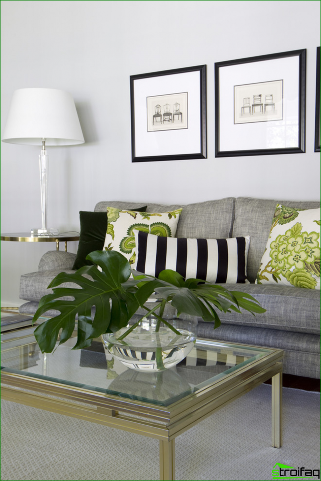 Bright living room in monochrome colors and graphic designs decorated in frame